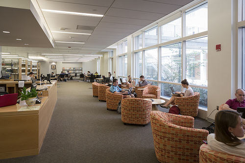 Students studying in the bright open space with large windows and comfortable furniture at the Kenan Science Library