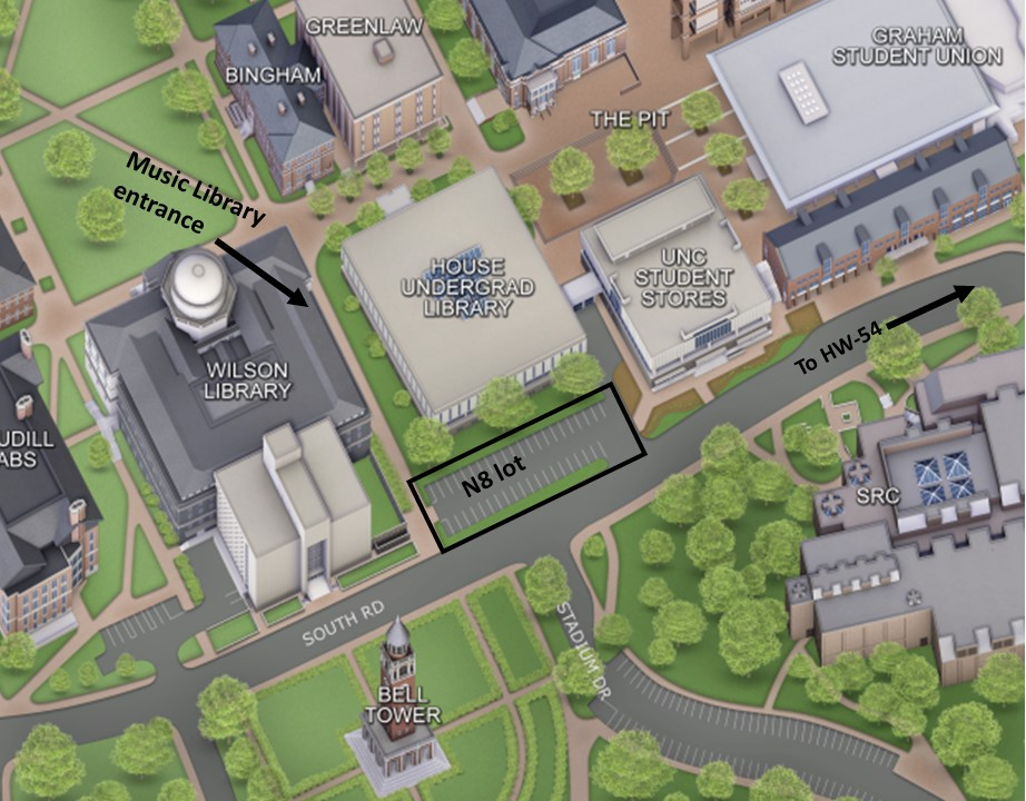 Map showing the best entrance to get to the Music library, on the East side of Wilson Library. An N8 parking lot is highlighted just to the East of Wilson Library.