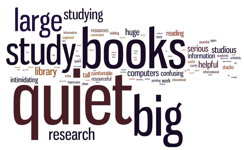 word cloud of pre-survey responses. The words 'books', 'quiet', 'study', and 'big' are the largest.