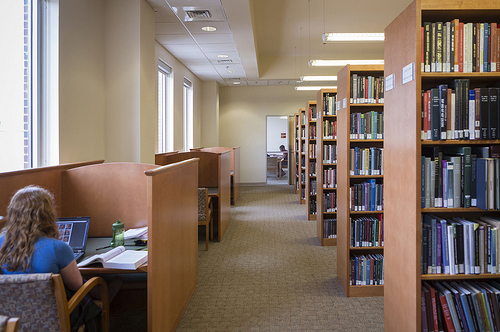 Study carrels in the stacks at Stone Library