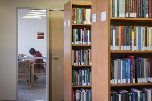 Open study rooms in the stacks at Stone Library