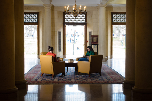 Armchairs in the entrance hall of Wilson Library