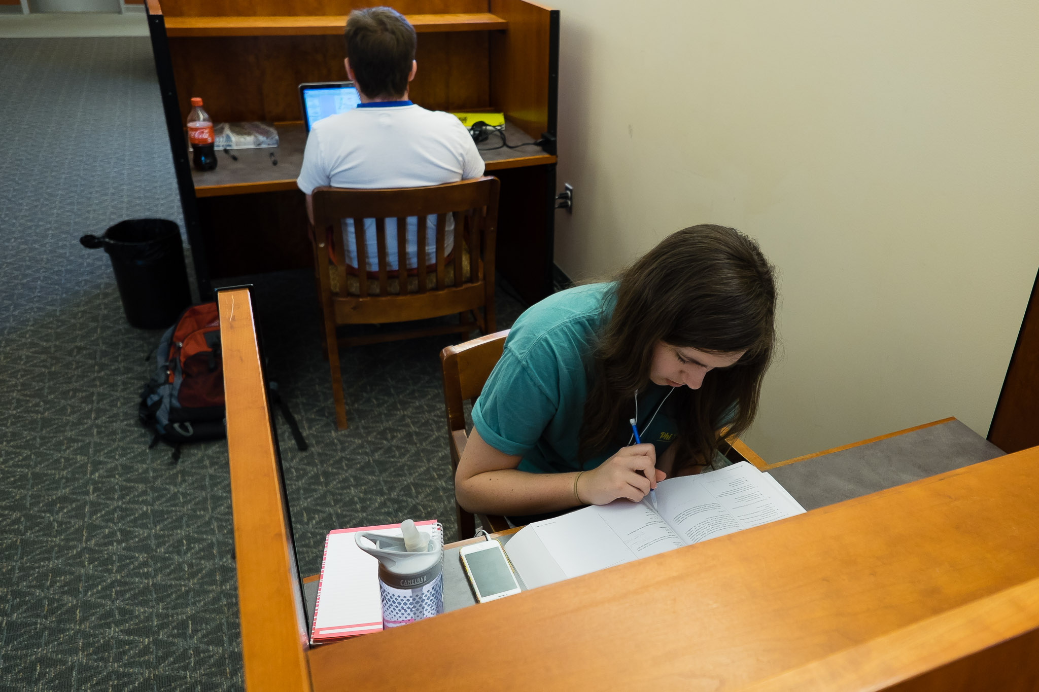 Student studying in an individual carrel at Health Sciences Library