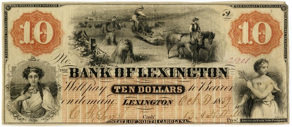 Bank of Lexington 10 dollar note