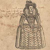 Drawing of woman in Elizabethan dress