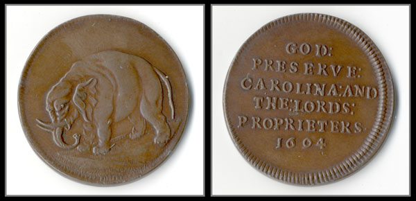 front and back of carolina elephant token. Image of an elephant on the front, text on the back: God Preserve Carolina and the Lords Proprieters 1694