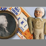 Doll, ticket and locket keepsakes
