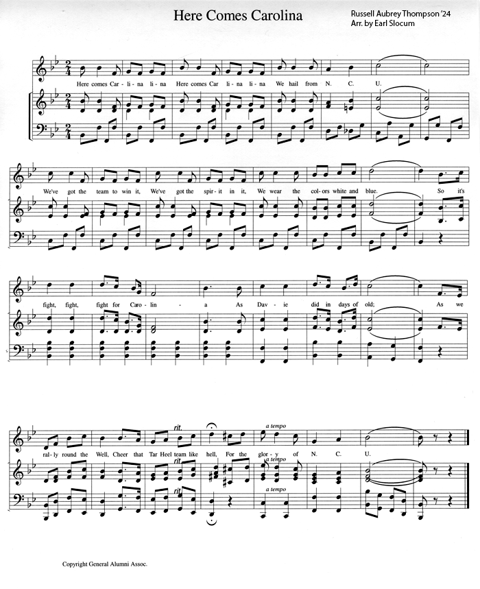 Sheet Music for Here Comes Carolina by Russell Aubrey Thompson '24
