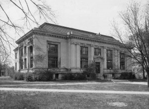 A black and white photo of Carnegie Hall on the UNC campus (now Hill Hall)