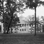 A black and white view of the front of Wilson Library