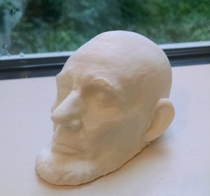 small 3D printed life mask of Abraham Lincoln's face