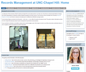 A screenshot of the University Archives' Records Management Guide.