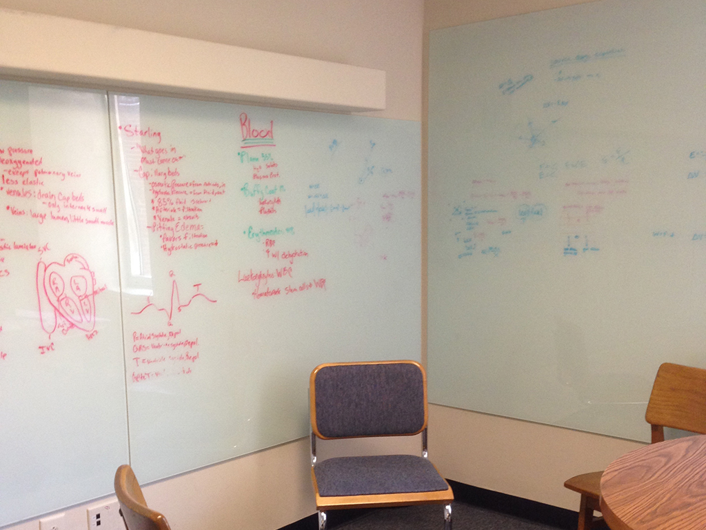 Whiteboards in a Davis Library study room