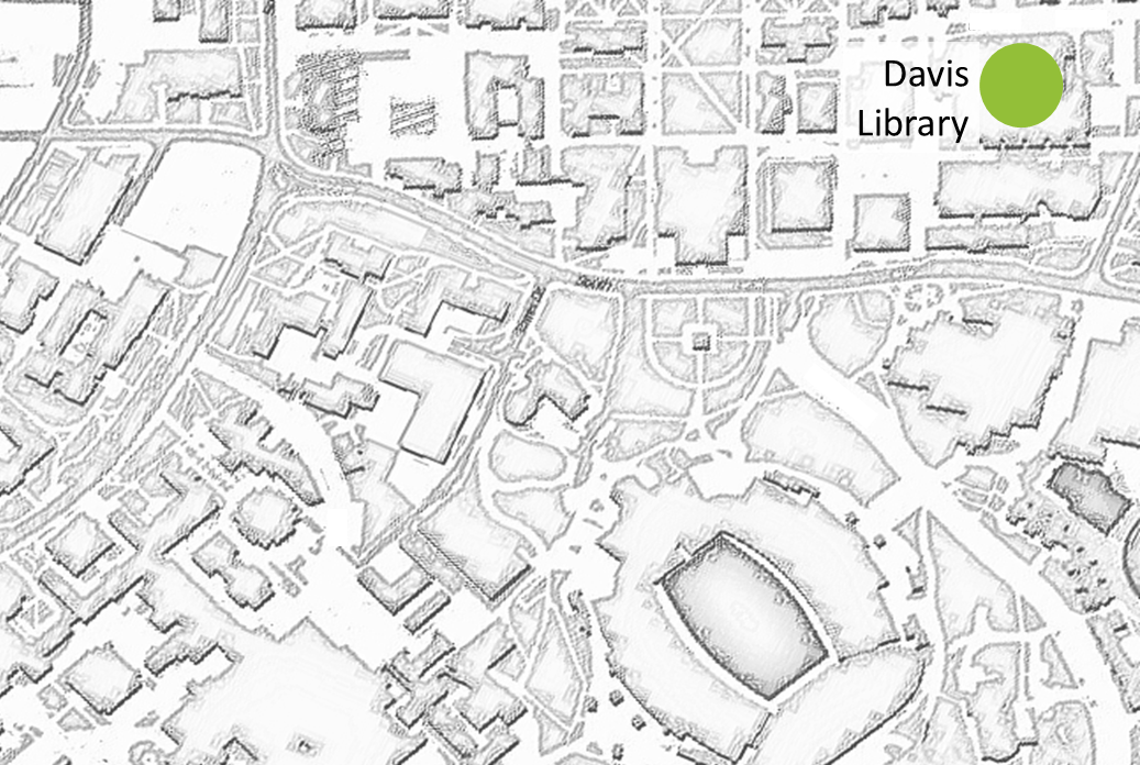 map highlighting location of Davis library