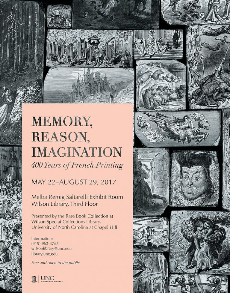 Poster featuring images from the exhibition Memory, Reason, Imagination