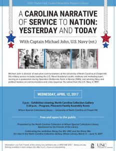 Flier for A Carolina Narrative of Service to Nation lecture