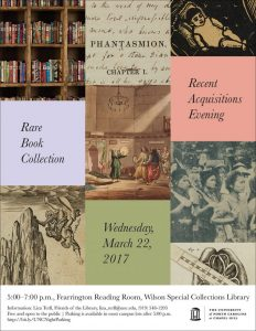 Rare Book Collection Recent Acquisitions evening flier