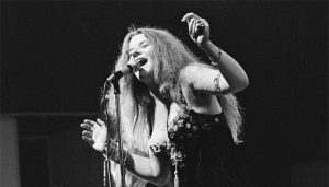 Black and white photo of Janis Joplin