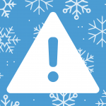 alert icon on snowflake background