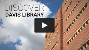 Video-still showing exterior of Davis Library building