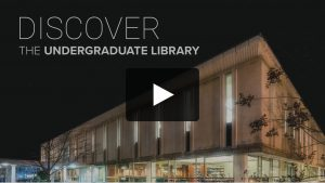Video-still showing exterior of Undergraduate Library building.