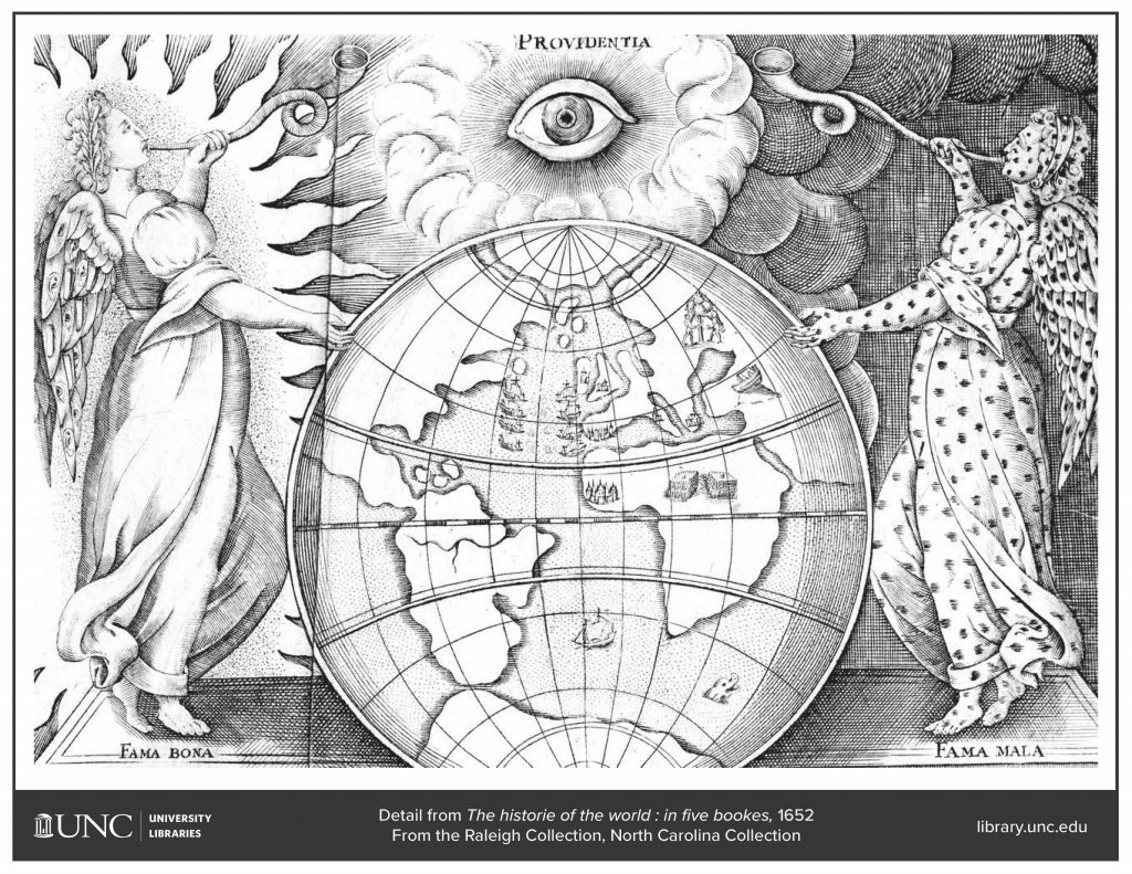 Detail of a historic drawing of angels holding a globe, from the North Carolina Collection