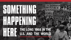 Detail of Donald Reid lecture flyer showing archival image of protest in Berlin circa 1968
