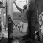 Collage of three Bayard Wootten photographs: Old man, woman raising her arms, and woman in nineteenth-century dress