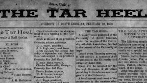 Masthead detail of first Daily Tar Heel