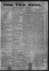 First page of first Daily Tar Heel, February 23, 1893