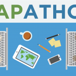 Mapathon flyer detail showing students typing on laptops