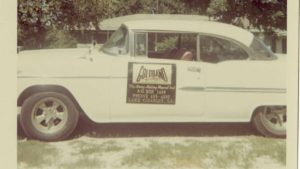 Car with panel advertising Goldband Records