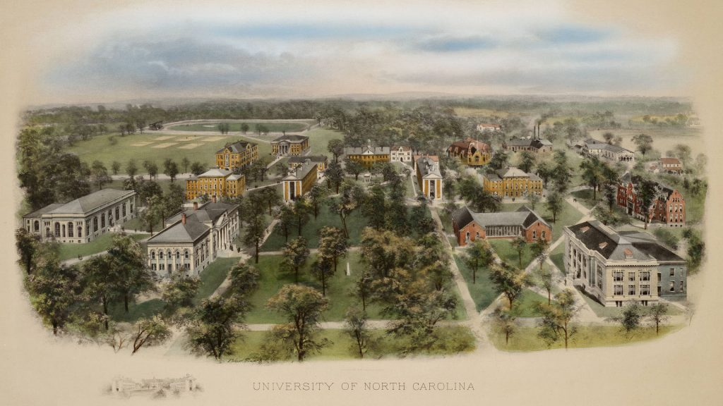 artist's etching of UNC's campus in 1907.