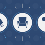 book icon, chair icon, microphone icon