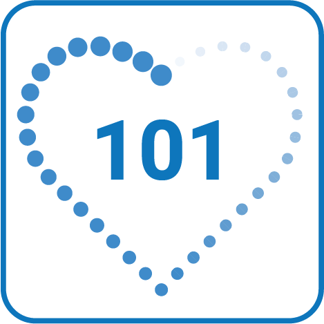 a dotted outline of a heart with 101 written inside it