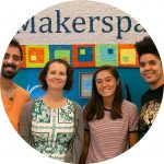 Four expert staff members smiling in the Makerspace