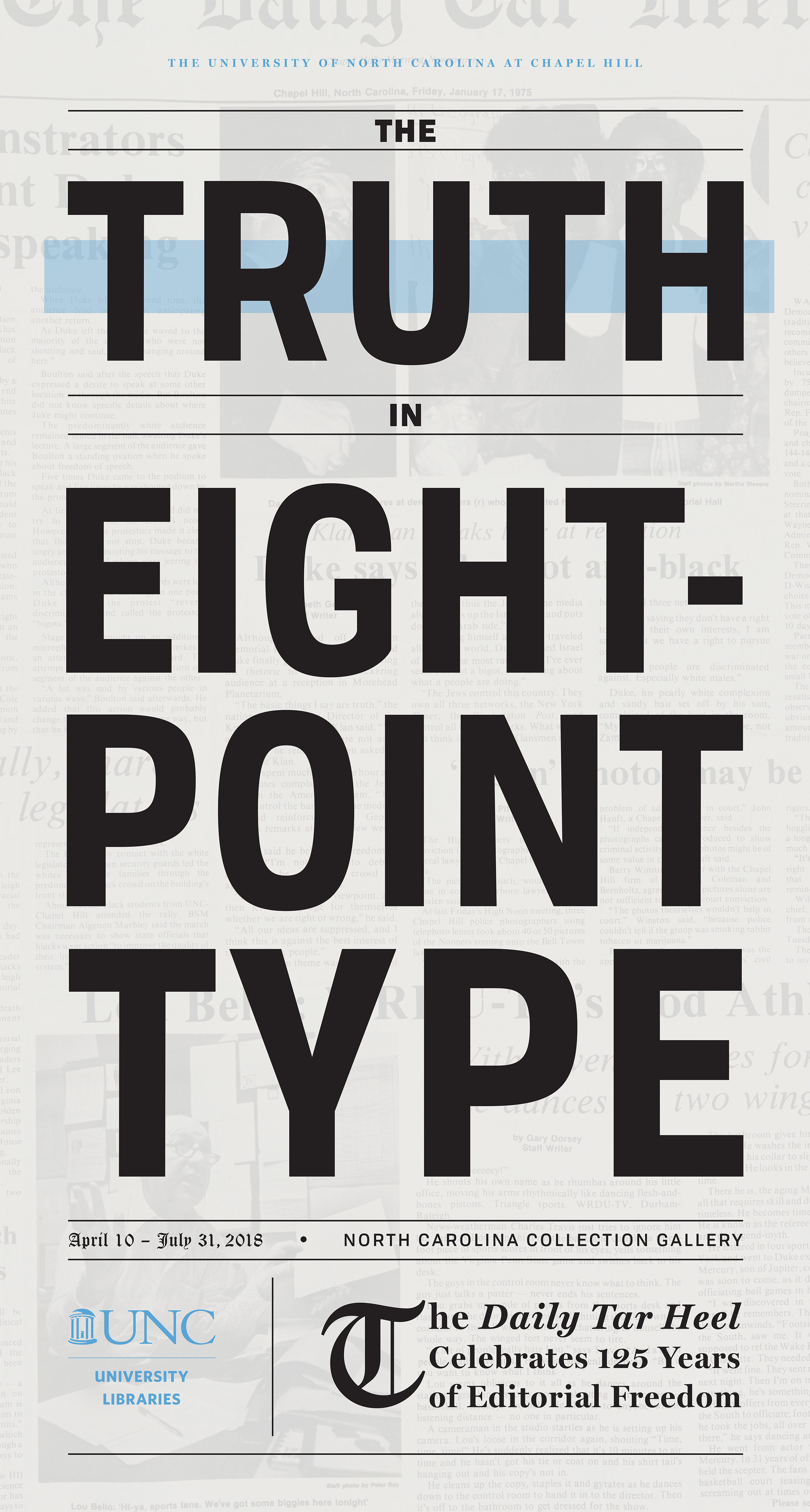 Poster advertising The Truth in Eight-Point Type exhibition