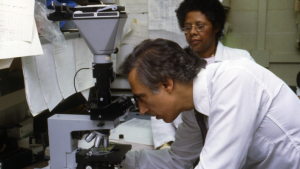 Robert Gallo MD looking in microscope