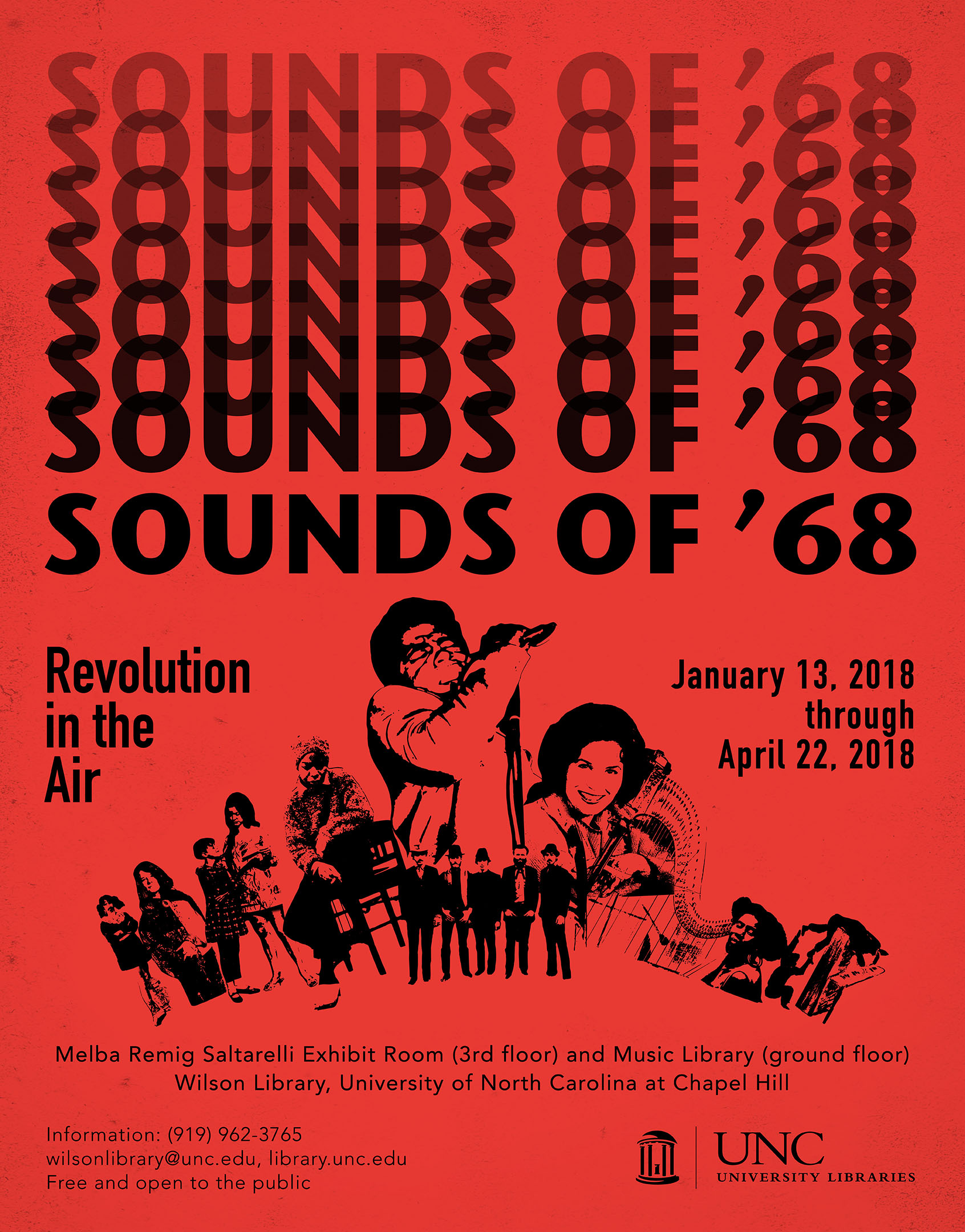 This is an image of the poster that advertised the Sounds of '68: Revolution in the Air exhibition. A montage of portraits in silhouette of artists included in the exhibition is at the center of the poster. The artists featured are Frank Zappa, Janice Joplin, Jeanie C Riley, Nina Simone, James Brown, The Band, Loretta Lynne, and Alice Coltrane.