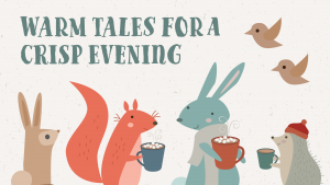 warm tales for a crisp evening event flier detail