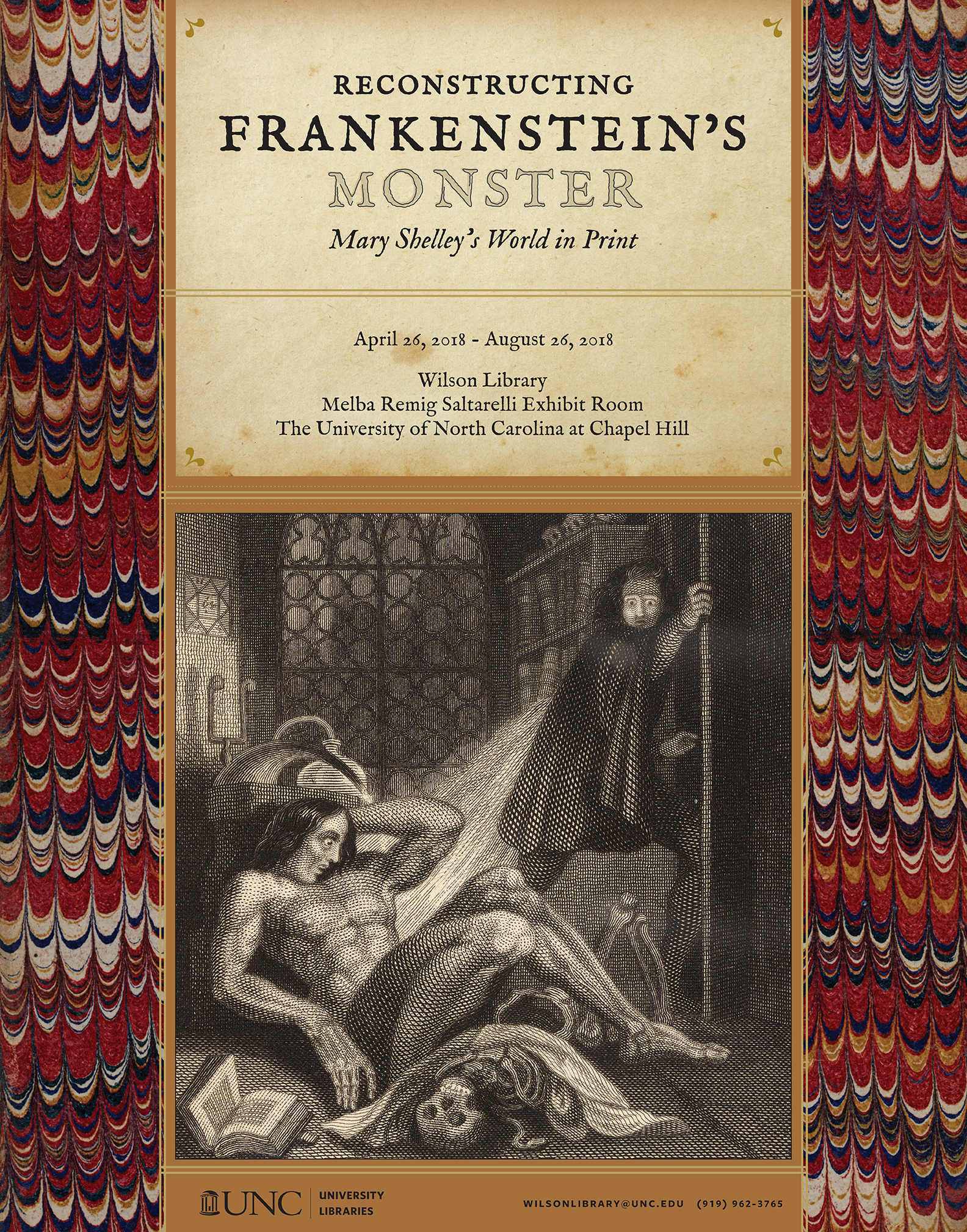 The poster features the first illustration ever drawn of Frankenstein's monster, taken from the frontispiece of the second edition of Frankenstein published in 1831. In the image, Frankenstein is fleeing in horror from his study as his monster awakes in the foreground. He is shown as a large muscular man with long black hair sprawled on the floor surrounded by skulls, bones, and books. The monster has a stricken look on his face.