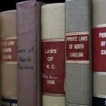 North Carolina law books on shelf