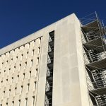 Photo of Wilson Library exterior with scaffolding