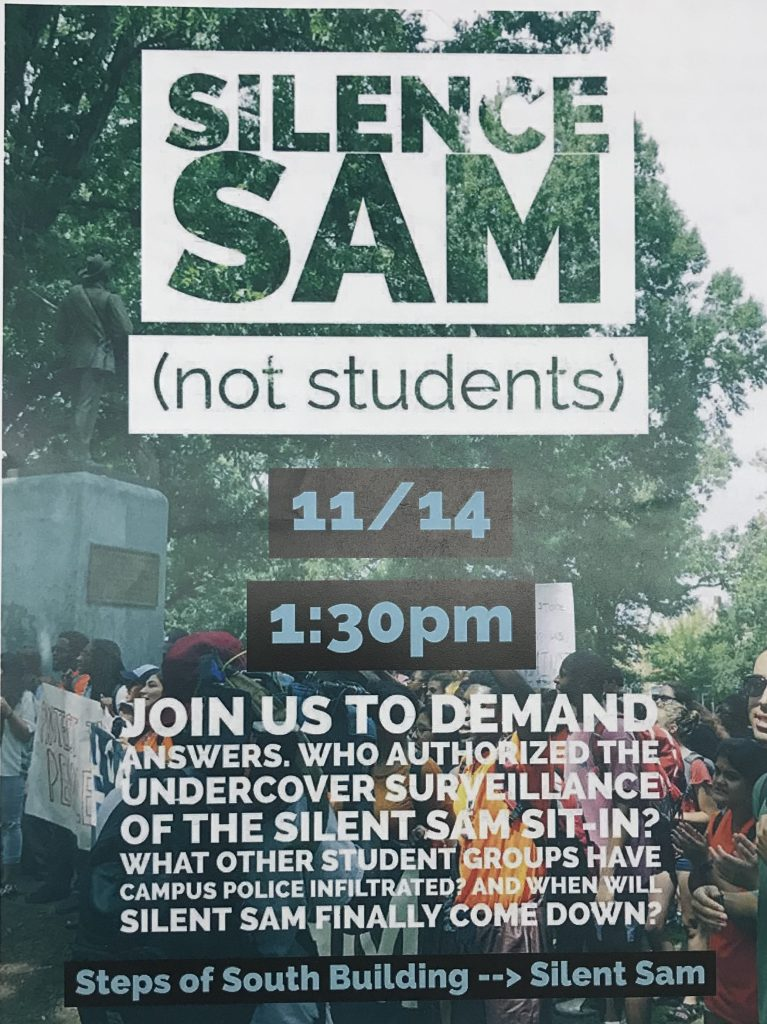 A 2017 flyer advertising a protest around the confederate monument, Silent Sam.