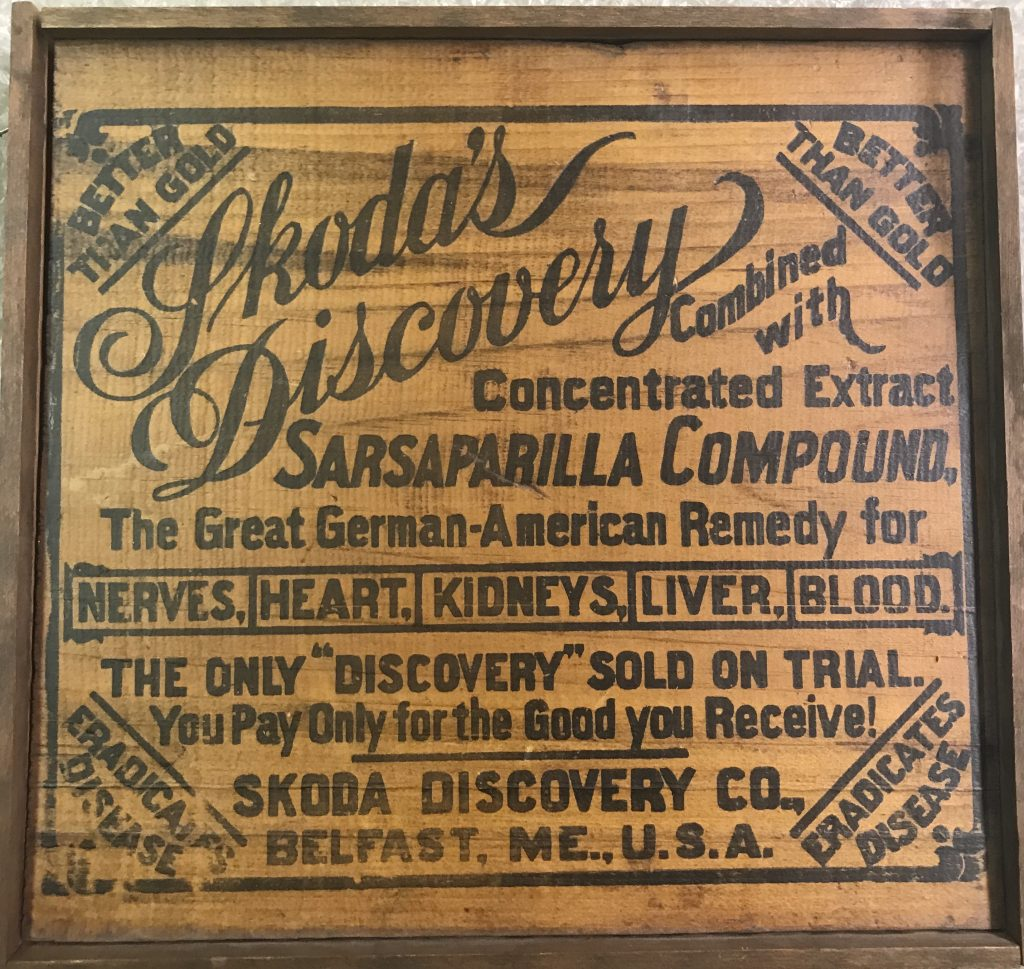 Image of a box top advertising the patent medicine,