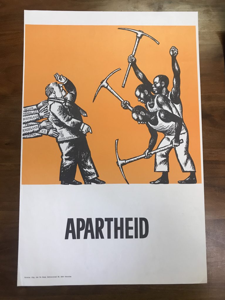 An apartheid poster from South Africa depicting different countries propping up the government in South Africa