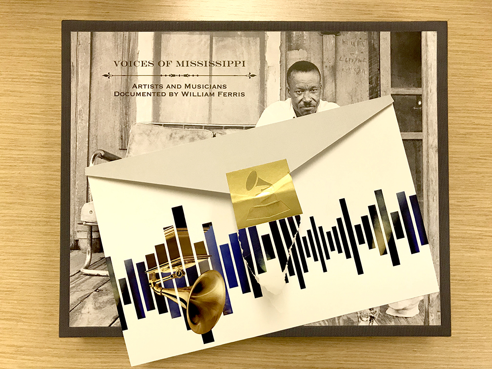 Voices from the Archives box set and Grammy envelope