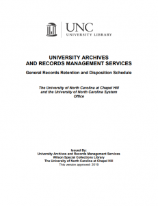 Title page of UNC records retention schedule