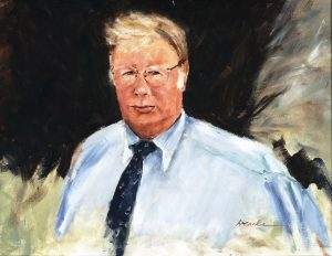 Painted portrait of Joe Hewitt