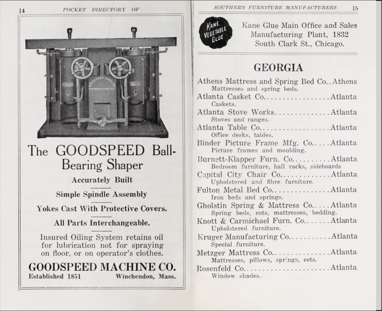 scanned page spread from Pocket Directory of Southern Furniture Manufacturers
